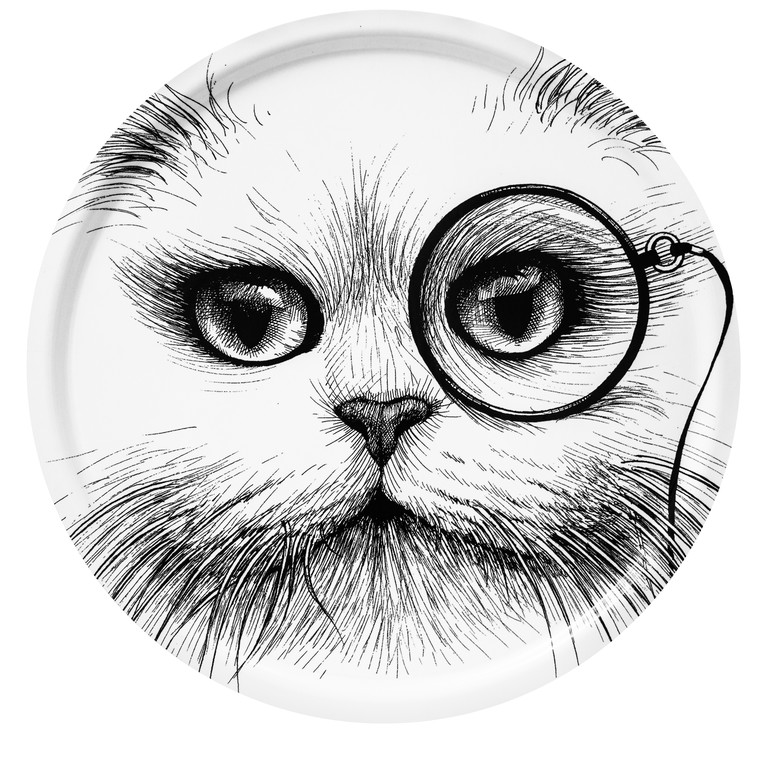 Small Cat Monocle White